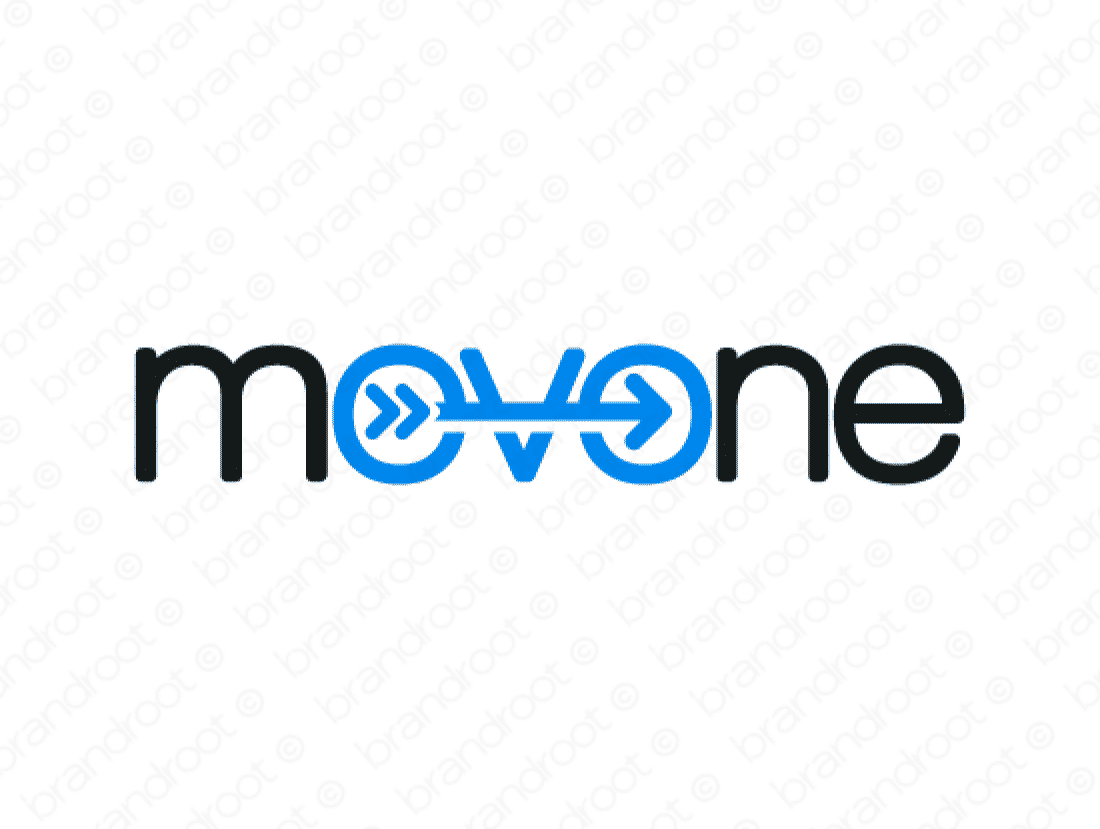 Movone logo design included with business name and domain name, Movone.com.