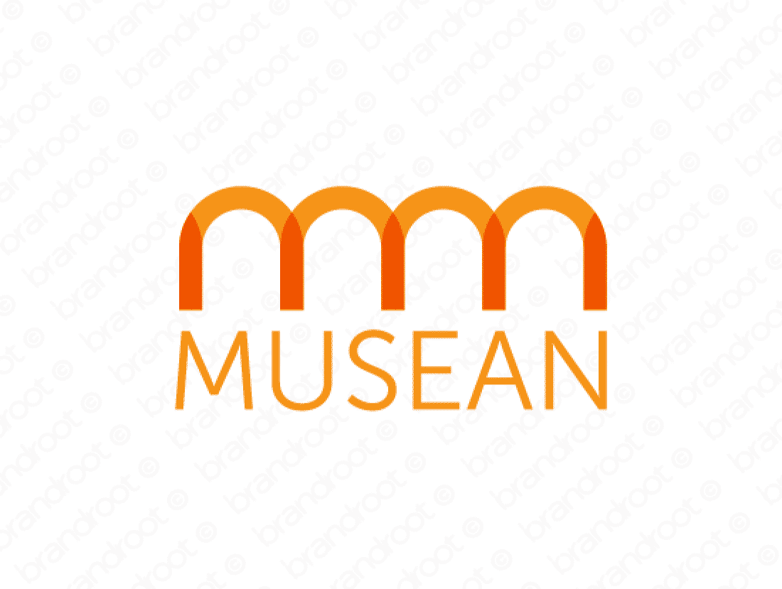 Musean logo design included with business name and domain name, Musean.com.