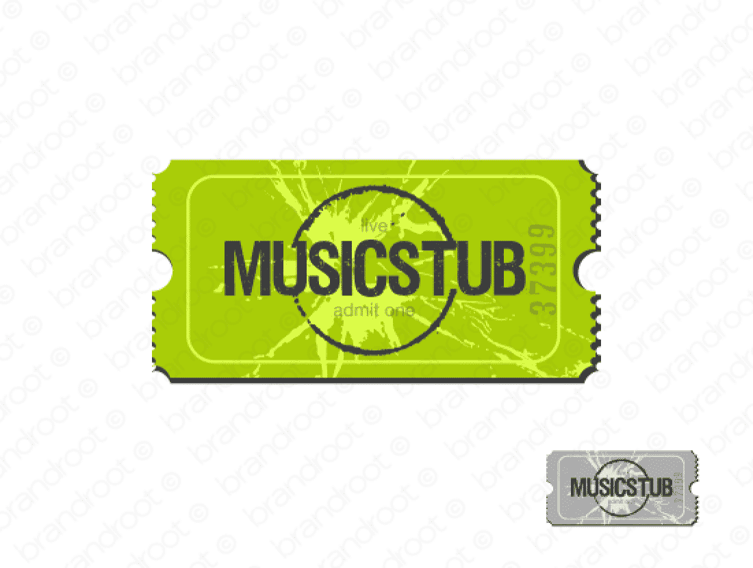 Musicstub logo design included with business name and domain name, Musicstub.com.