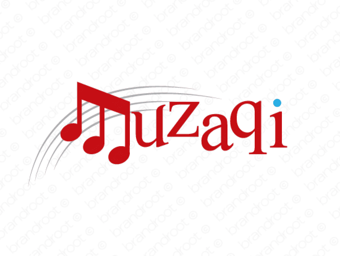 Muzaqi logo design included with business name and domain name, Muzaqi.com.