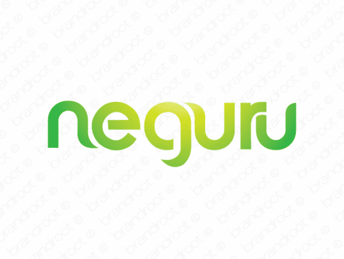 Neguru logo design included with business name and domain name, Neguru.com.