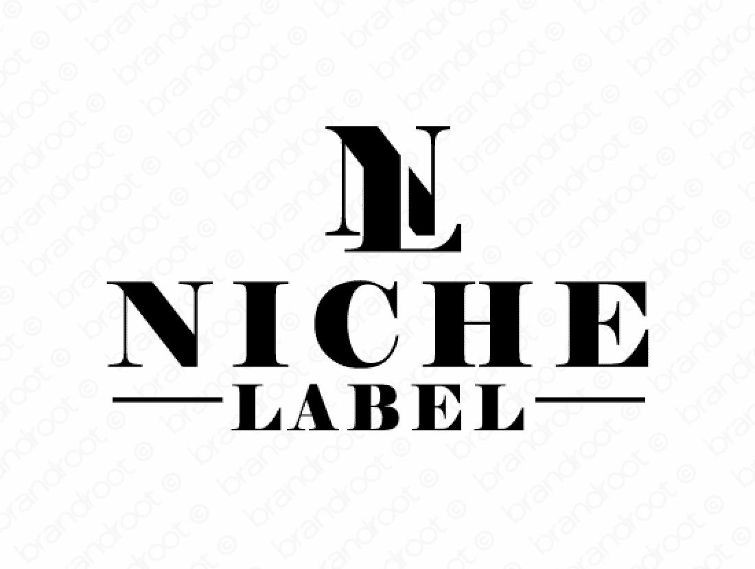 Nichelabel logo design included with business name and domain name, Nichelabel.com.