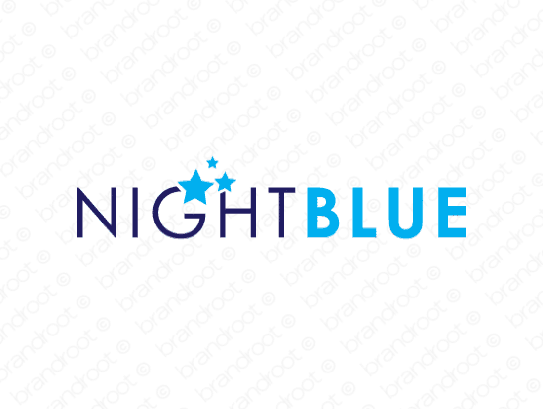 Nightblue logo design included with business name and domain name, Nightblue.com.