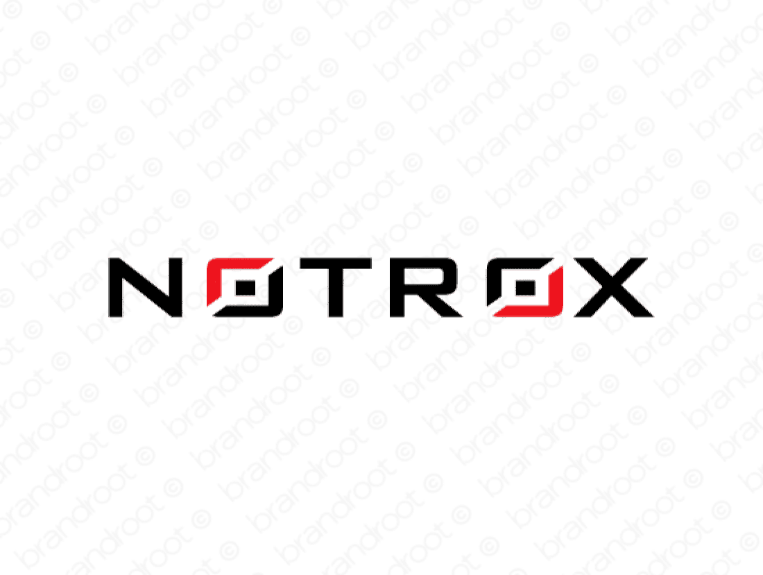 Notrox logo design included with business name and domain name, Notrox.com.