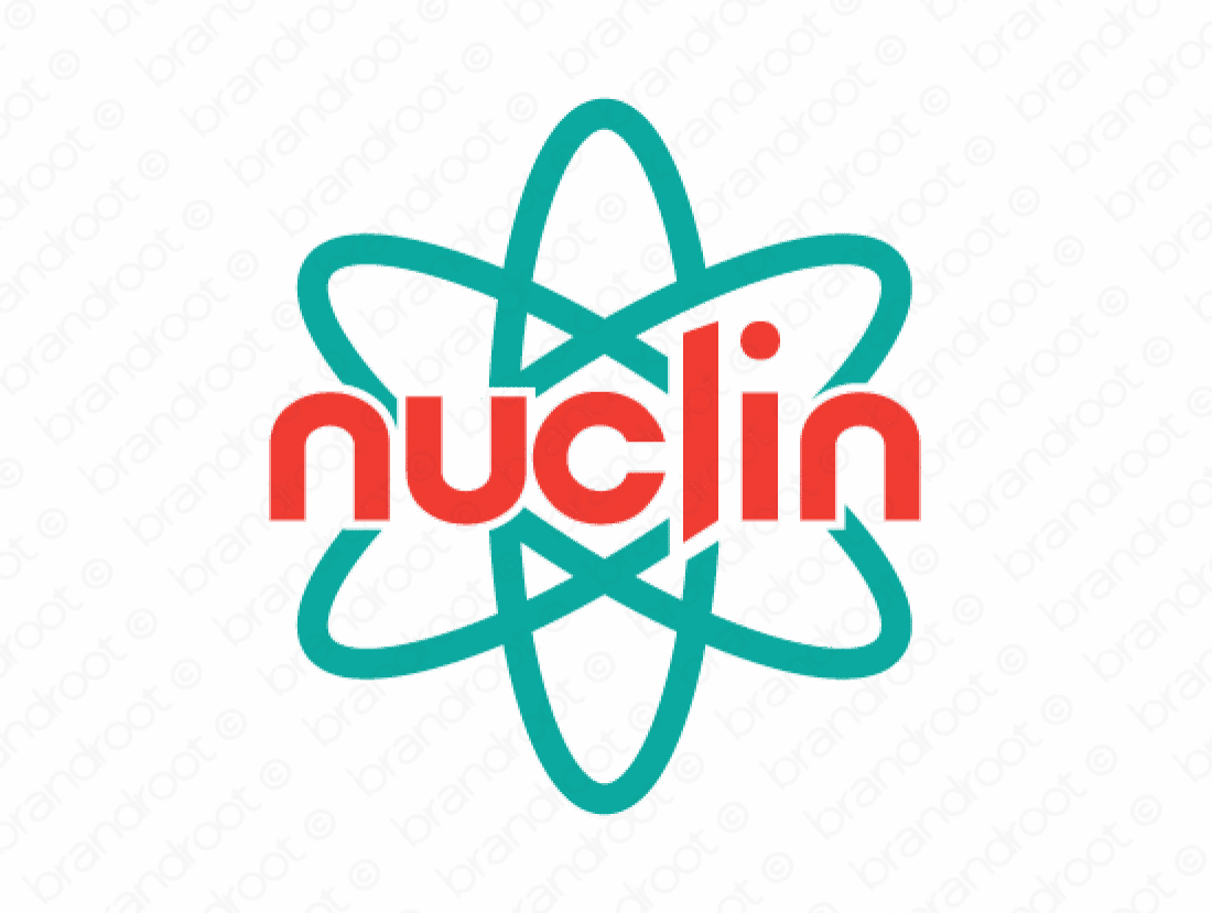 Nuclin logo design included with business name and domain name, Nuclin.com.
