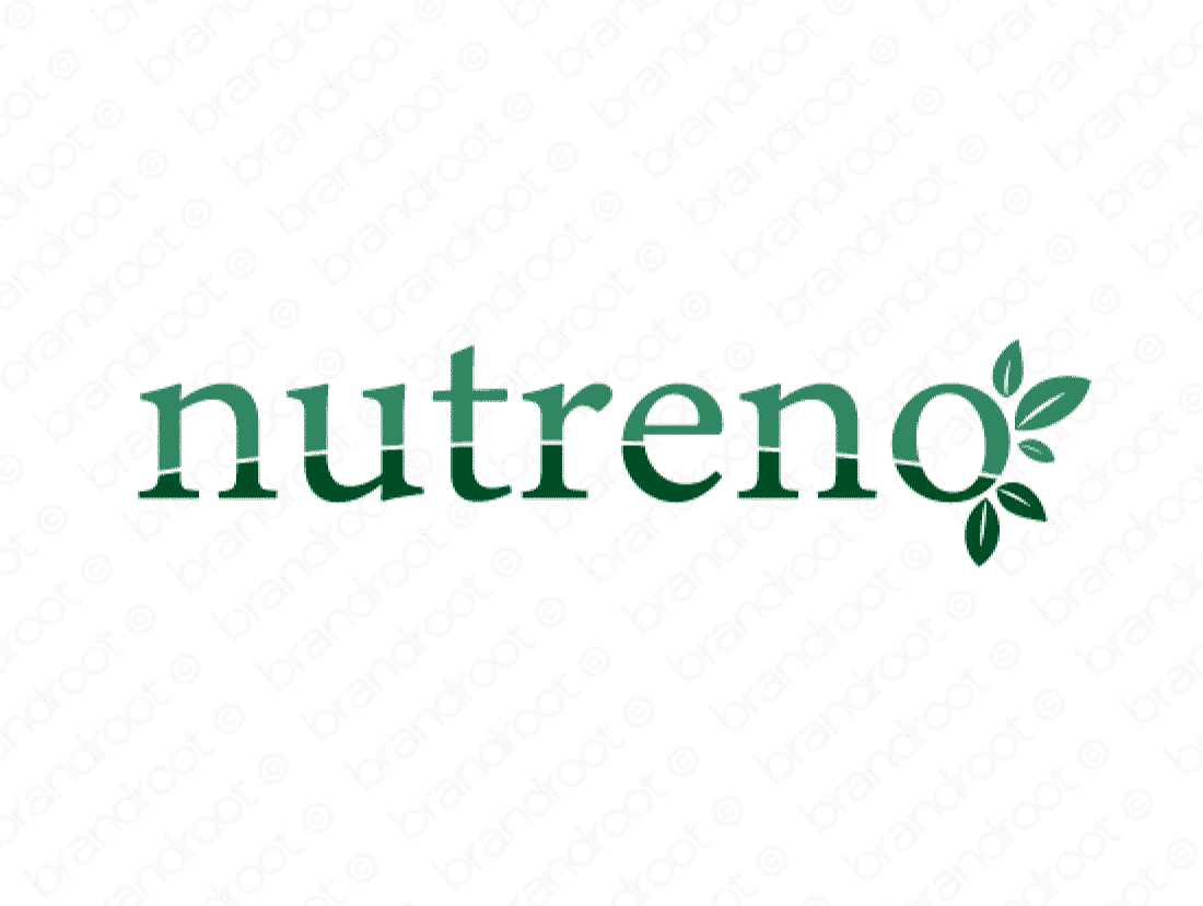 Nutreno logo design included with business name and domain name, Nutreno.com.