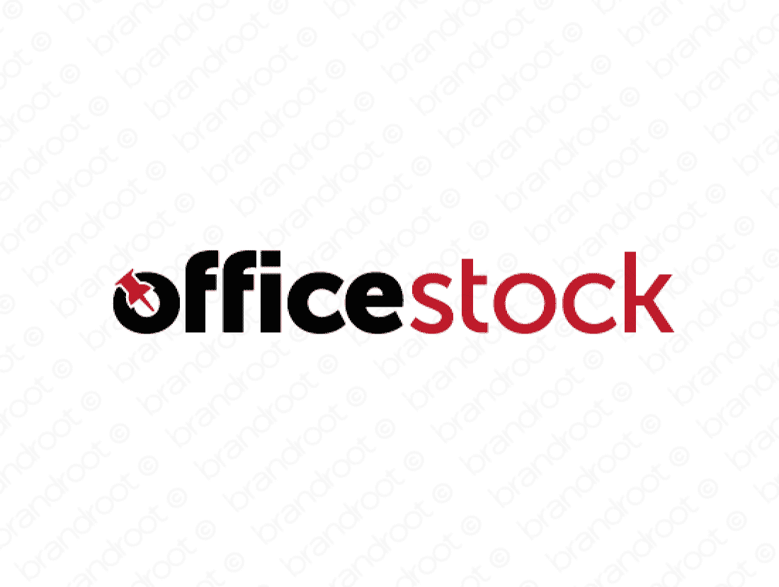 Officestock logo design included with business name and domain name, Officestock.com.