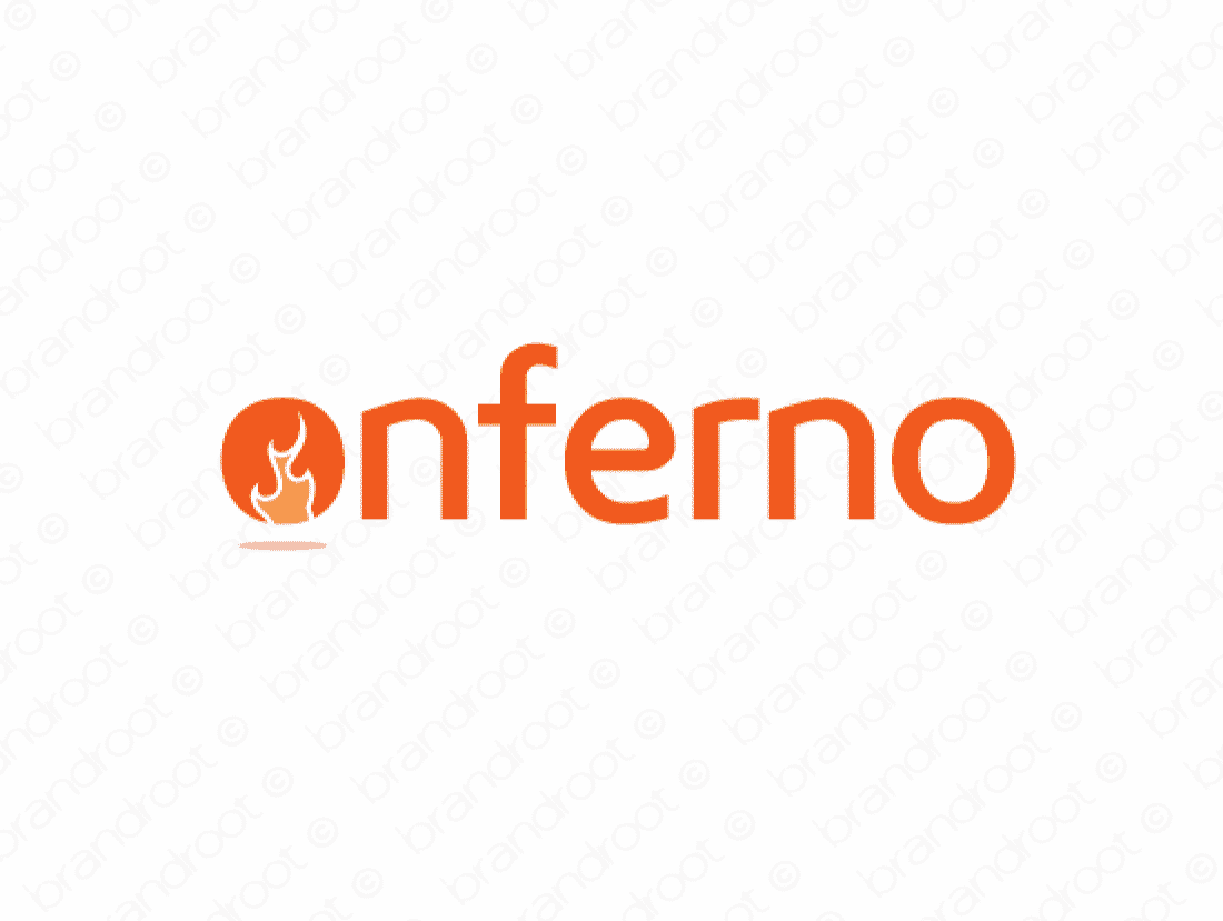 Onferno logo design included with business name and domain name, Onferno.com.