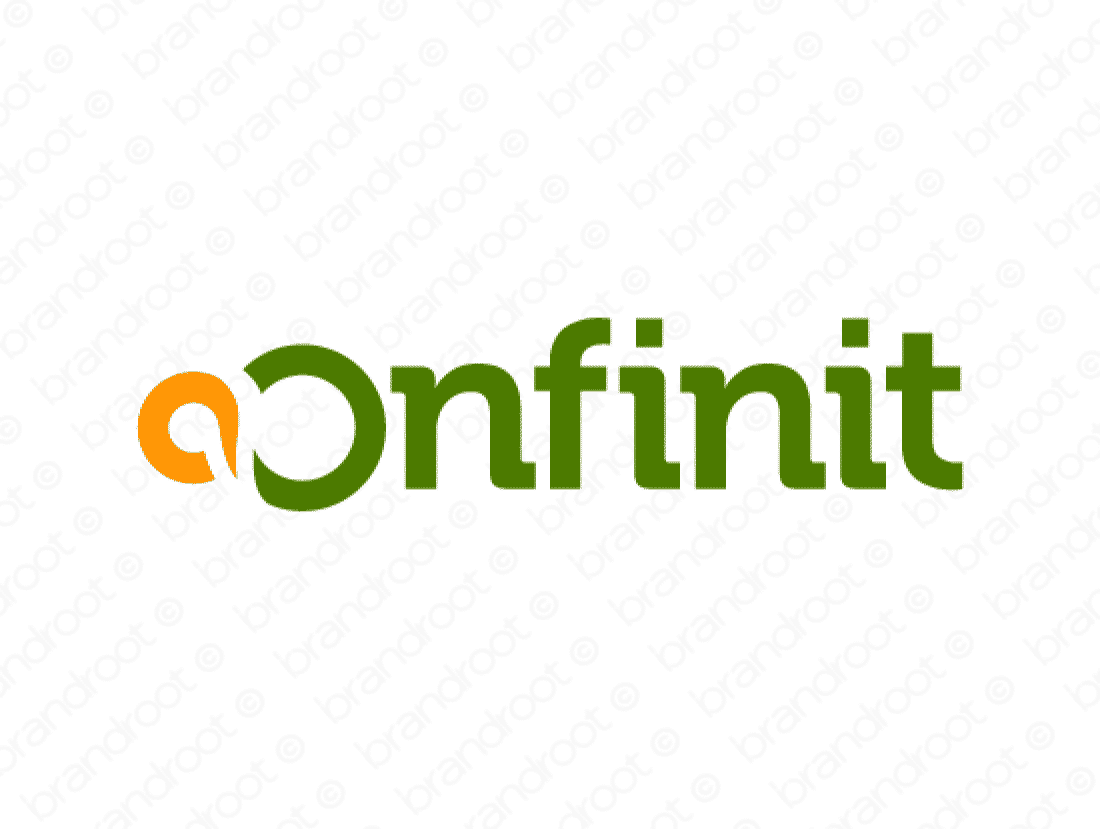 Onfinit logo design included with business name and domain name, Onfinit.com.