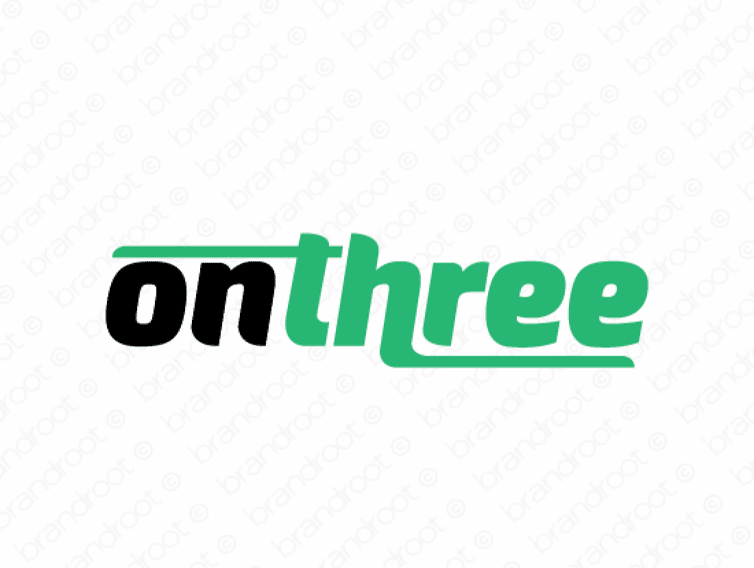 Onthree logo design included with business name and domain name, Onthree.com.