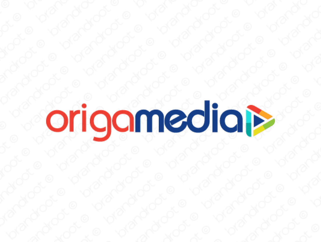 Origamedia logo design included with business name and domain name, Origamedia.com.