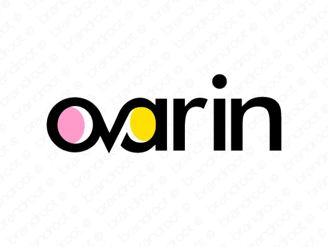 Ovarin logo design included with business name and domain name, Ovarin.com.