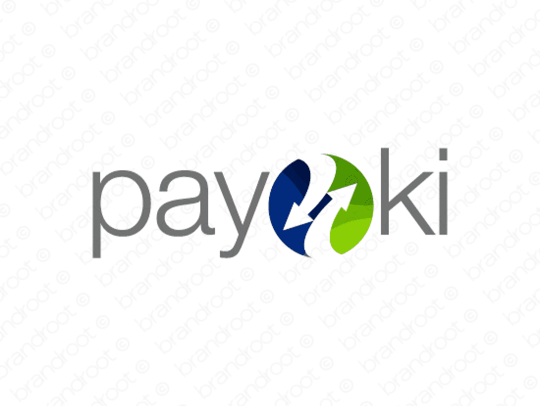 Payoki logo design included with business name and domain name, Payoki.com.
