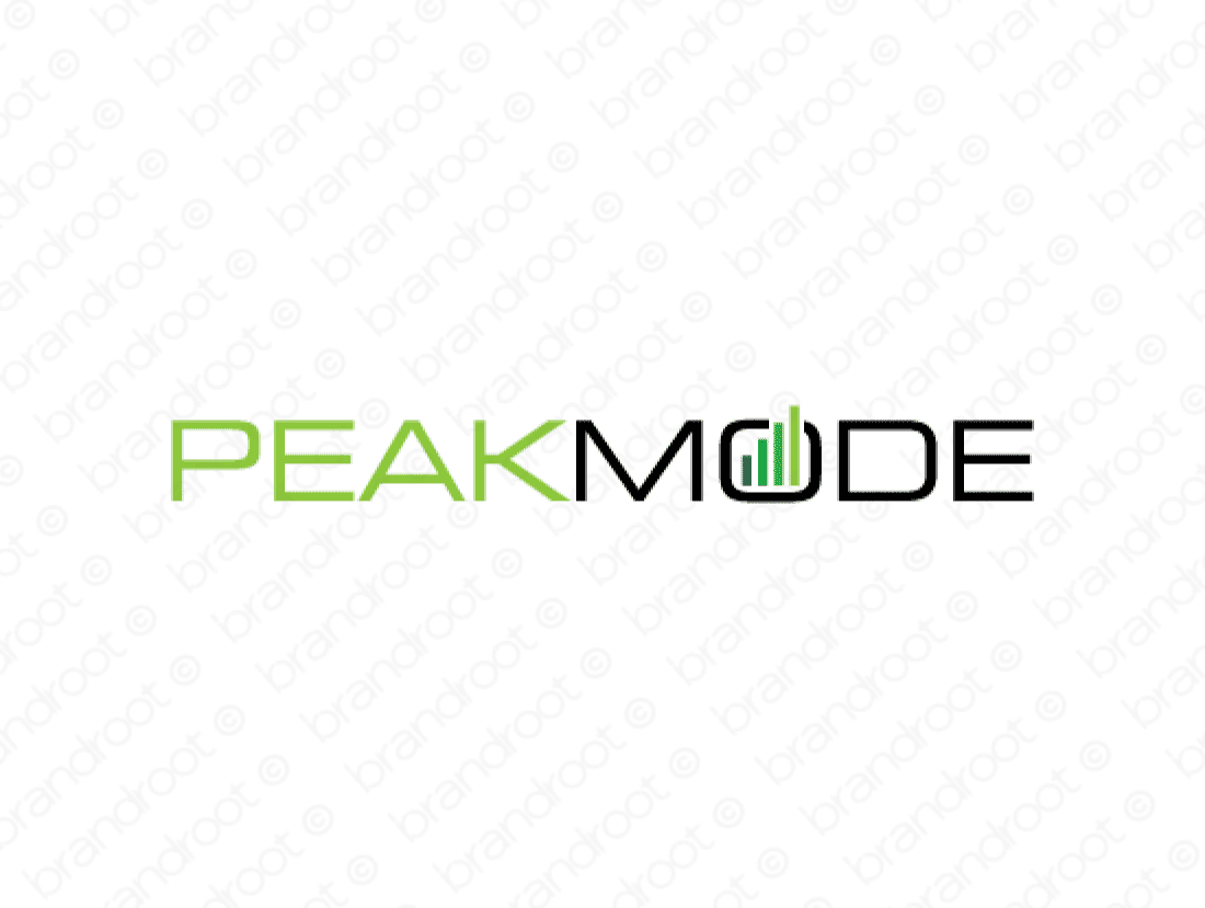 Peakmode logo design included with business name and domain name, Peakmode.com.