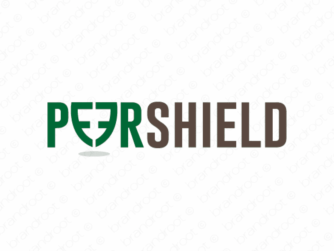 Peershield logo design included with business name and domain name, Peershield.com.