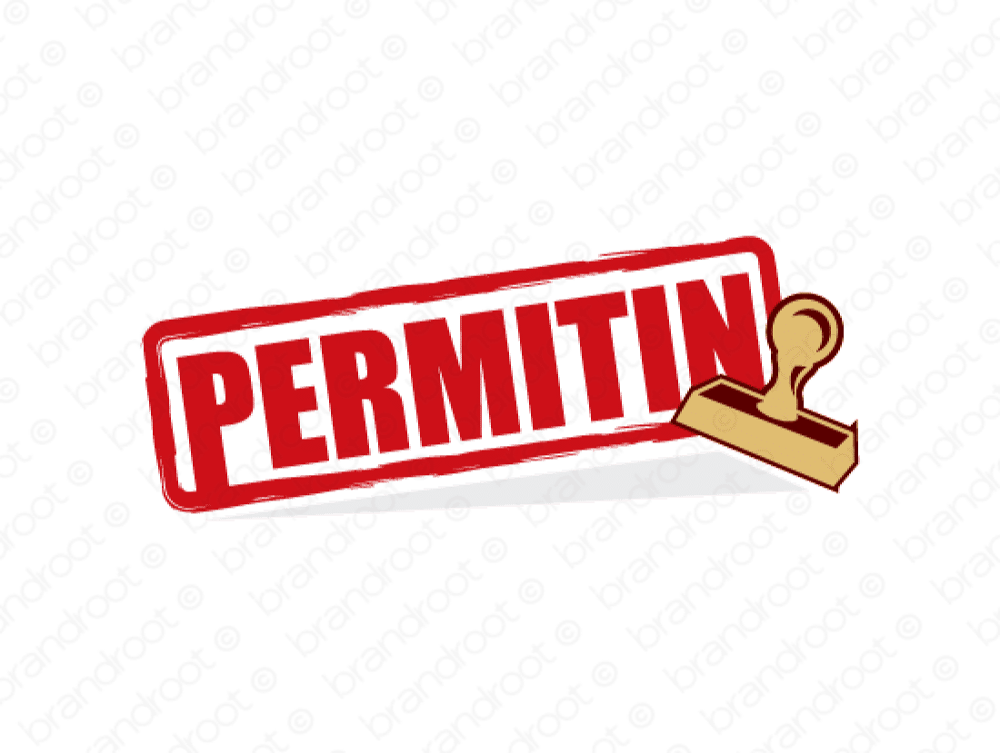 Permitin logo design included with business name and domain name, Permitin.com.