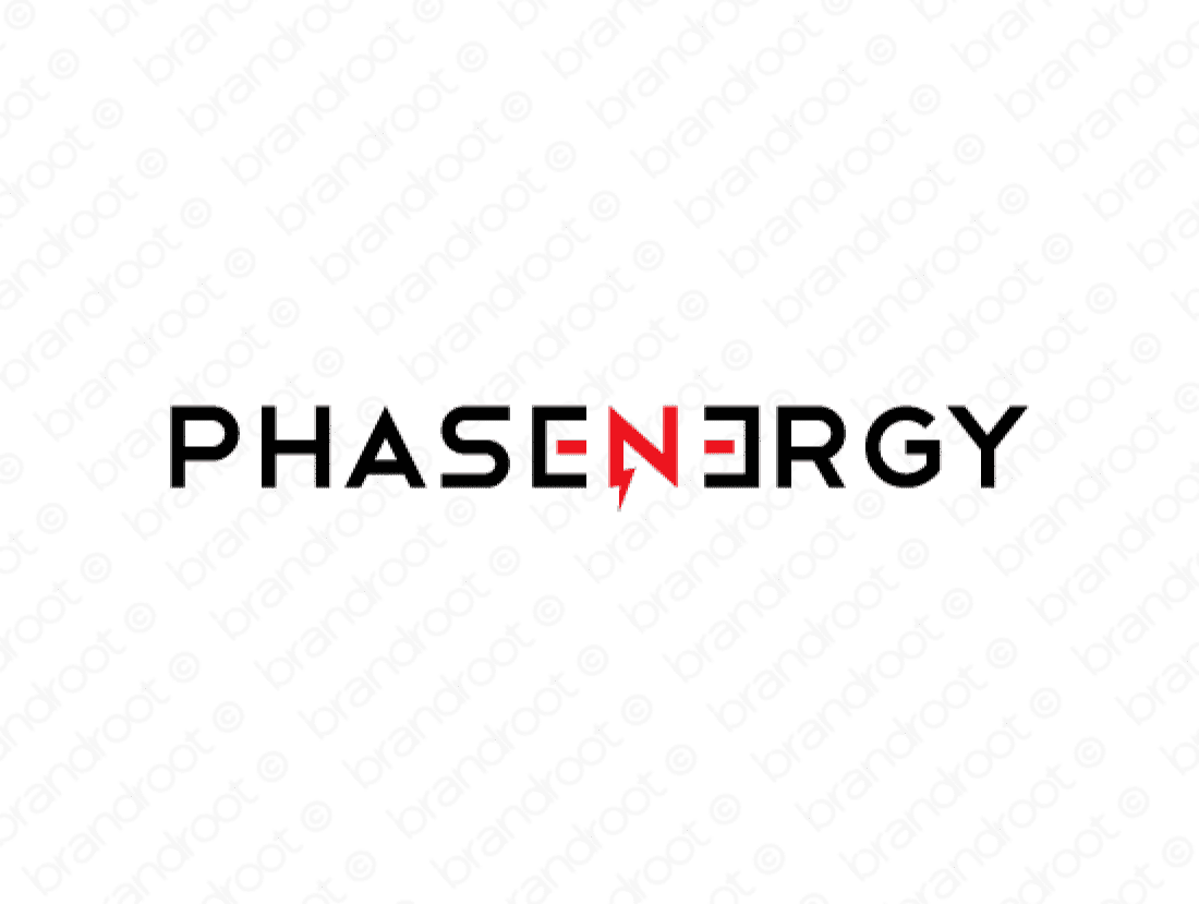 Phasenergy logo design included with business name and domain name, Phasenergy.com.