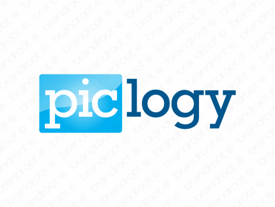 Piclogy logo design included with business name and domain name, Piclogy.com.