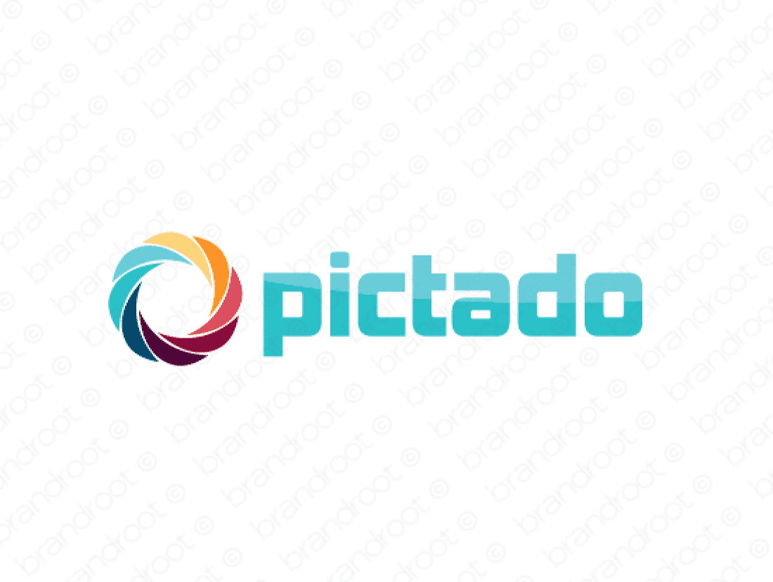 Pictado logo design included with business name and domain name, Pictado.com.