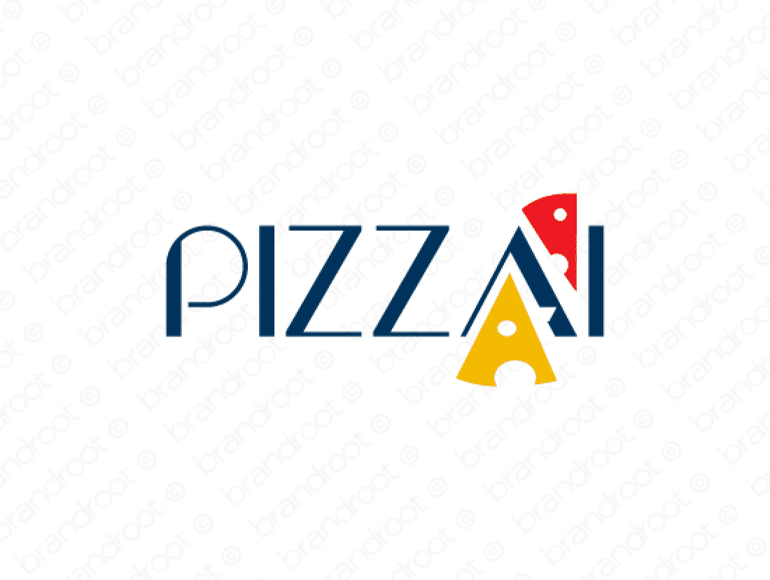 Pizzai logo design included with business name and domain name, Pizzai.com.