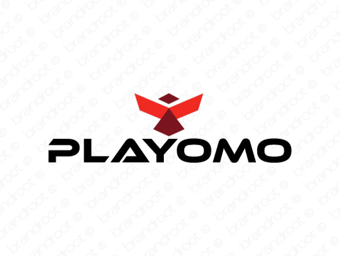 Playomo logo design included with business name and domain name, Playomo.com.