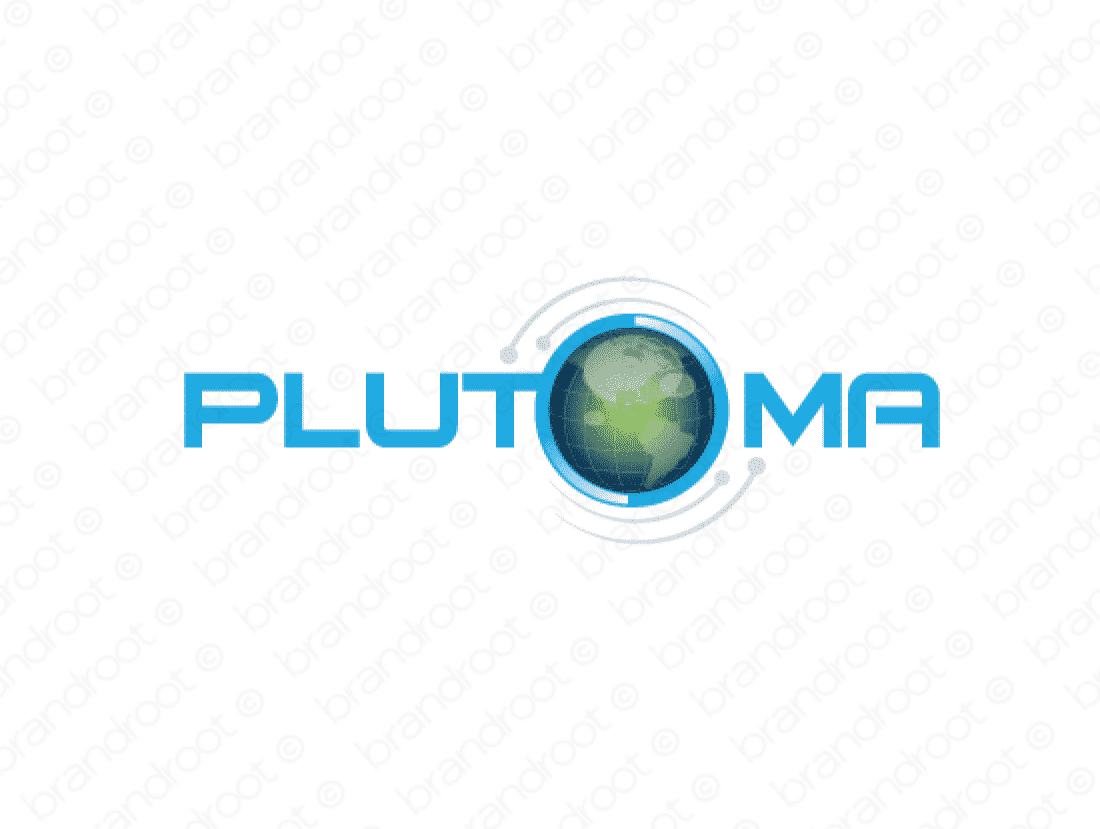 Plutoma logo design included with business name and domain name, Plutoma.com.