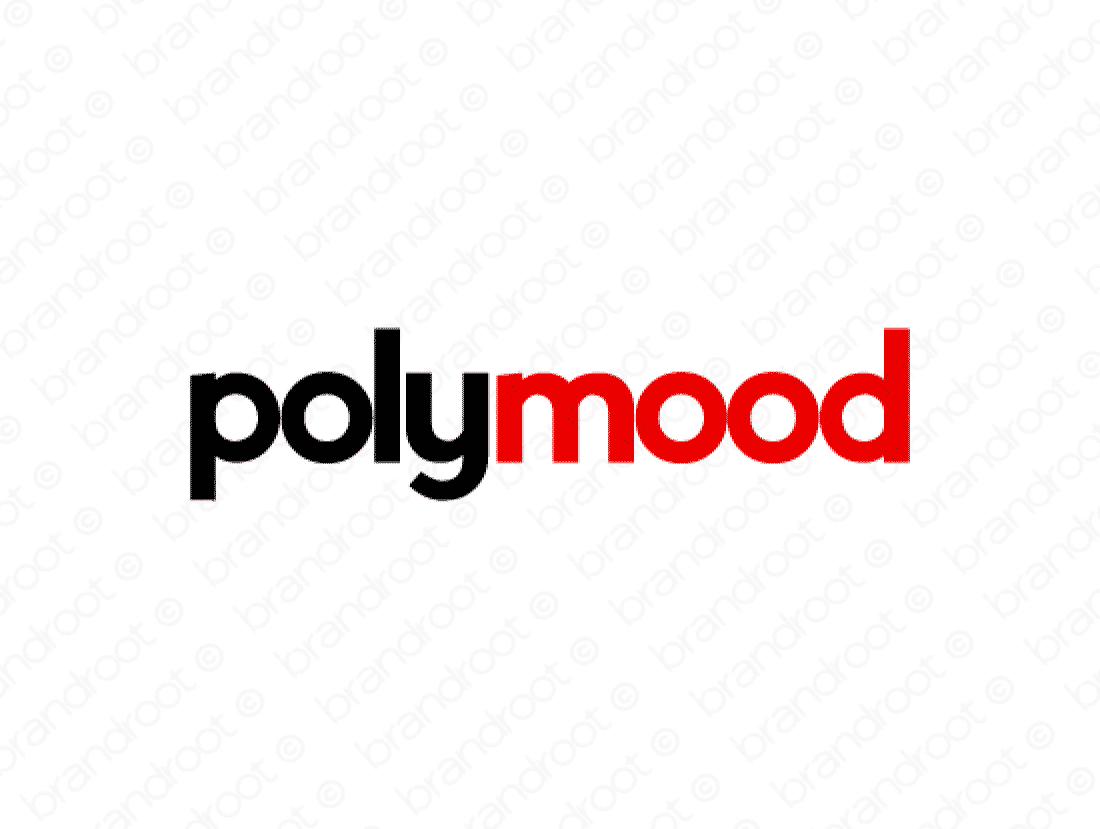 Polymood logo design included with business name and domain name, Polymood.com.