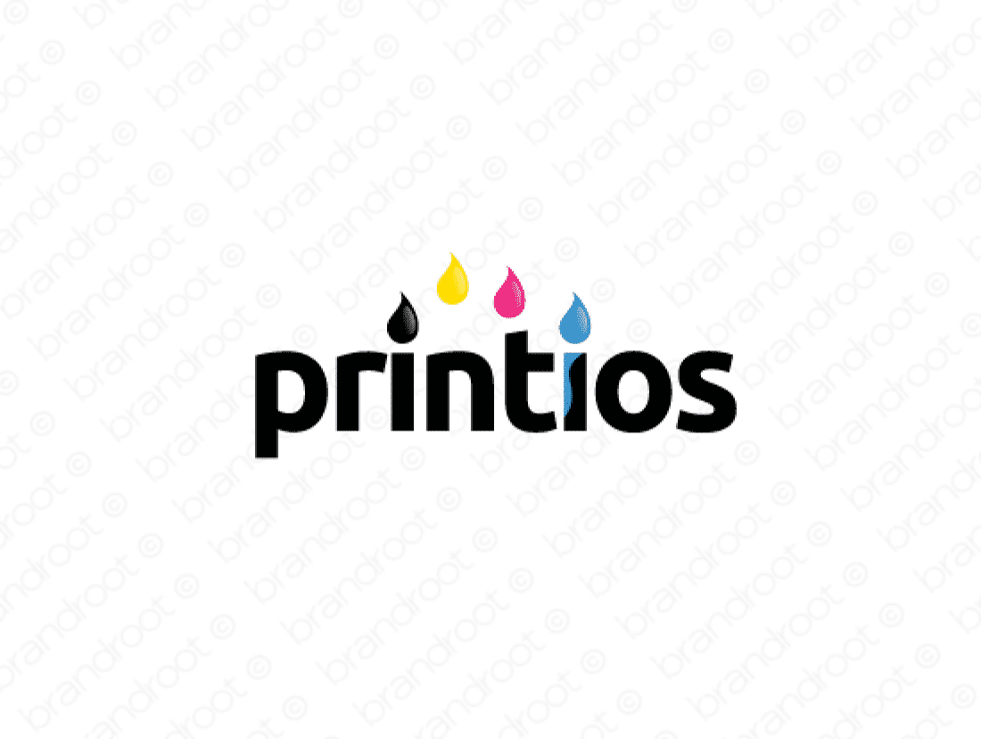 Printios logo design included with business name and domain name, Printios.com.
