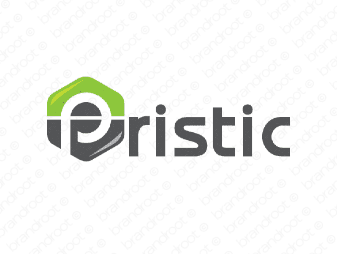 Pristic logo design included with business name and domain name, Pristic.com.