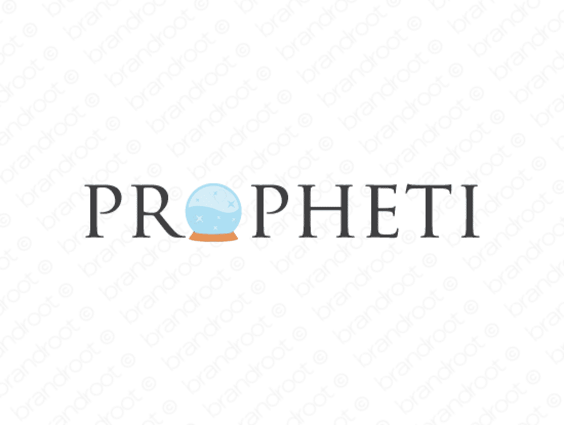 Propheti logo design included with business name and domain name, Propheti.com.