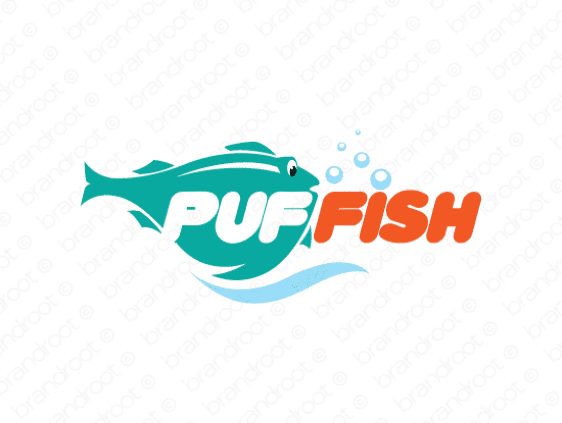 Puffish logo design included with business name and domain name, Puffish.com.