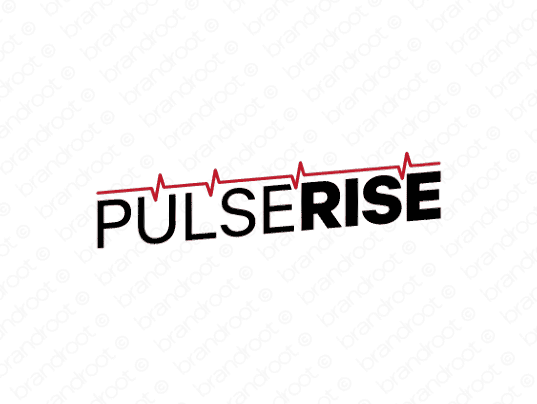 Pulserise logo design included with business name and domain name, Pulserise.com.