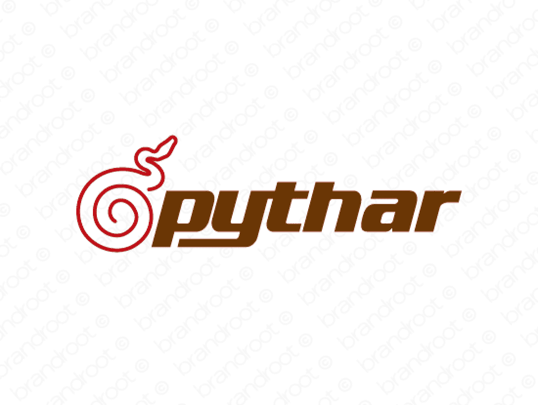 Pythar logo design included with business name and domain name, Pythar.com.