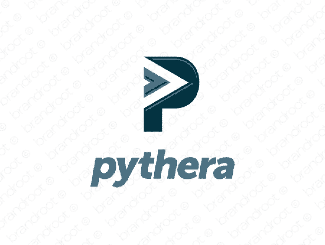 Pythera logo design included with business name and domain name, Pythera.com.