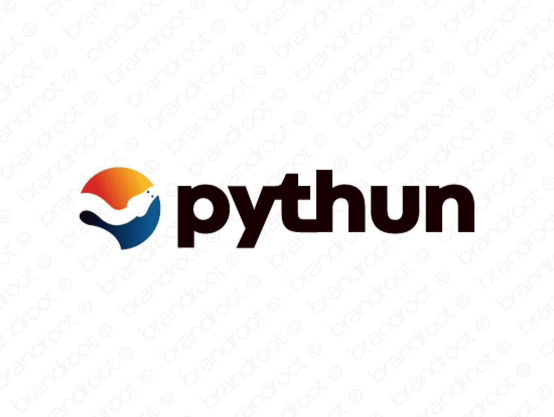 Pythun logo design included with business name and domain name, Pythun.com.