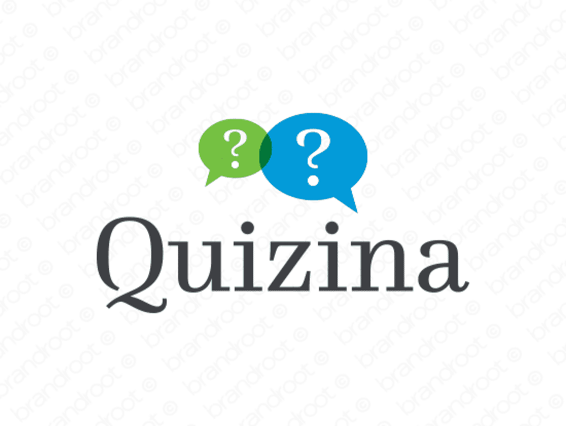 Quizina logo design included with business name and domain name, Quizina.com.