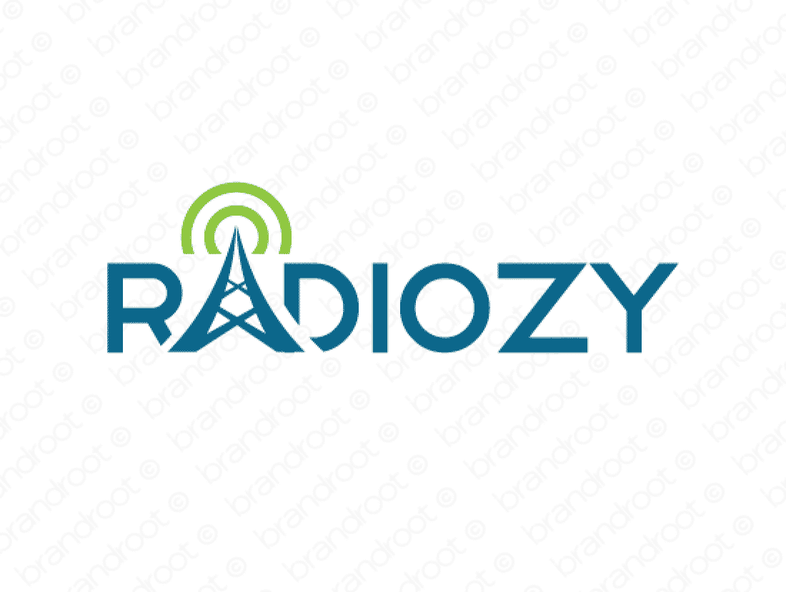 Radiozy logo design included with business name and domain name, Radiozy.com.