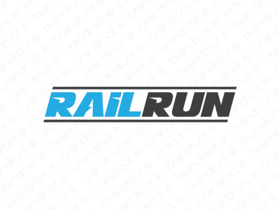 Railrun logo design included with business name and domain name, Railrun.com.