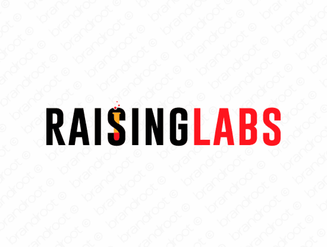 Raisinglabs logo design included with business name and domain name, Raisinglabs.com.