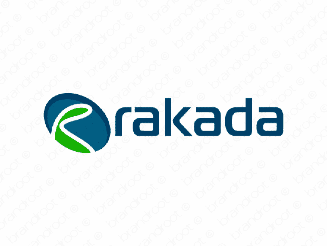 Rakada logo design included with business name and domain name, Rakada.com.