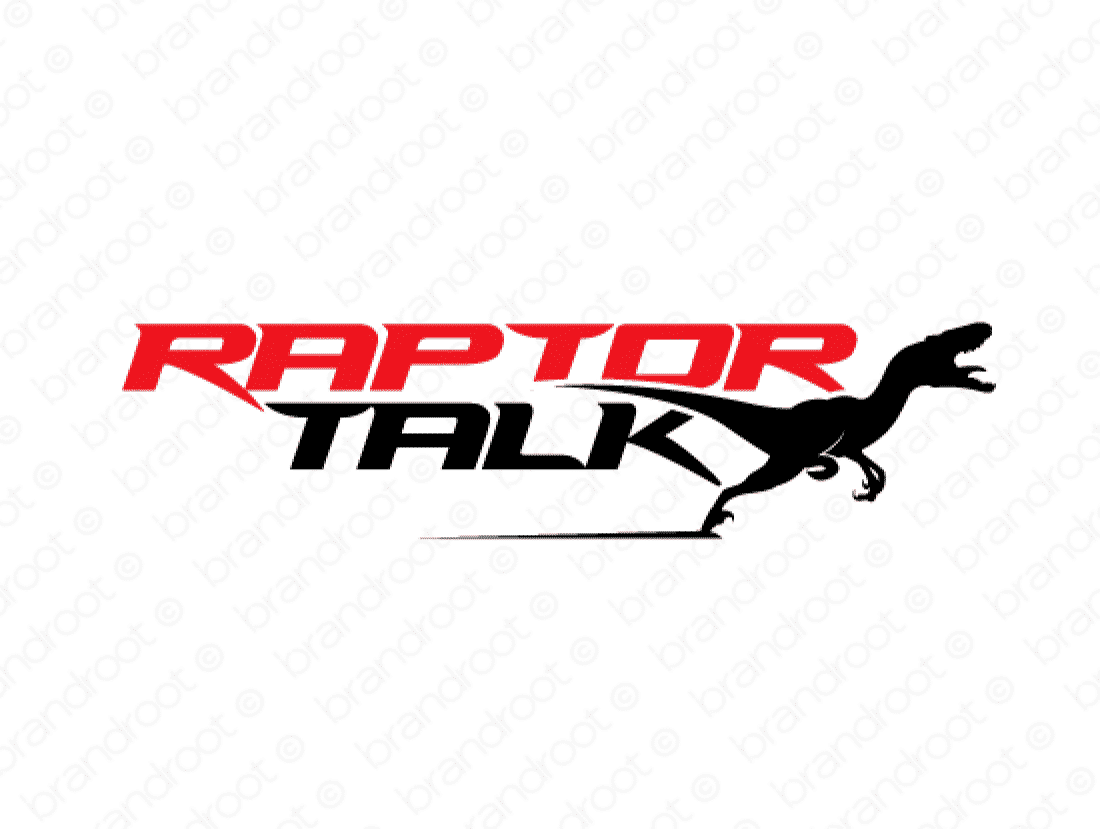 Raptortalk logo design included with business name and domain name, Raptortalk.com.