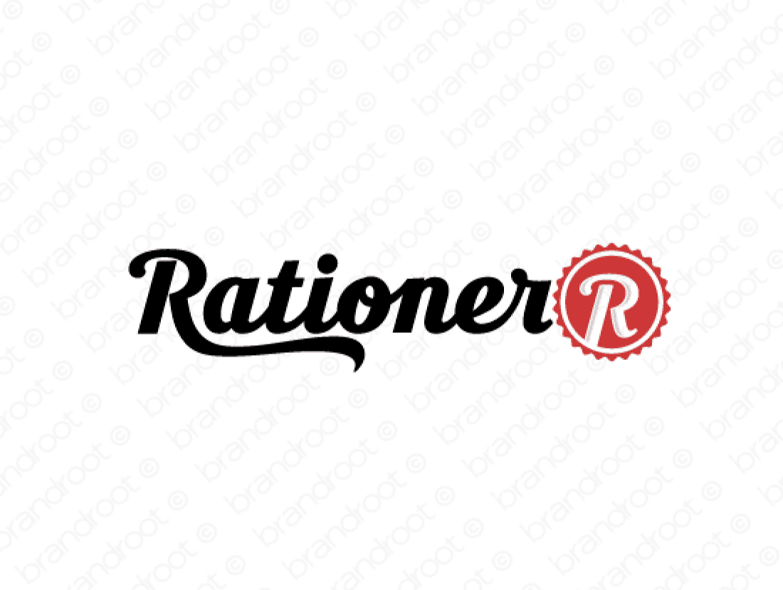 Rationer logo design included with business name and domain name, Rationer.com.