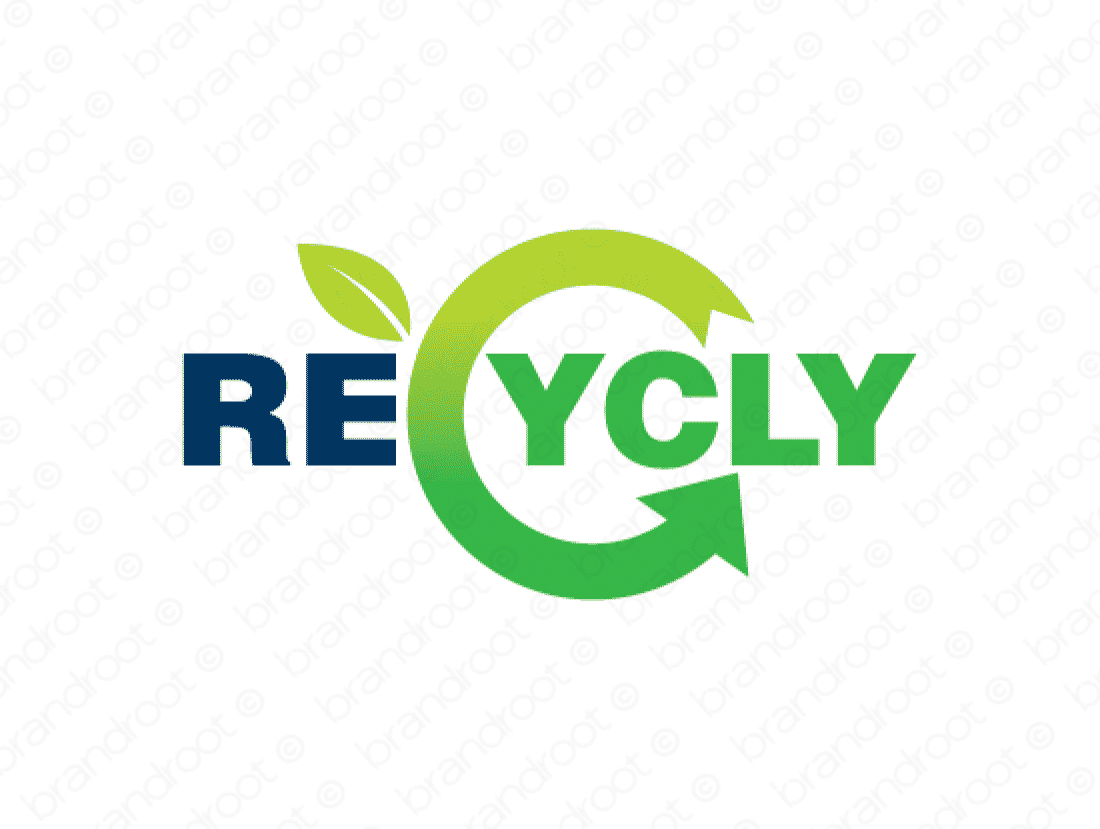 Recycly logo design included with business name and domain name, Recycly.com.