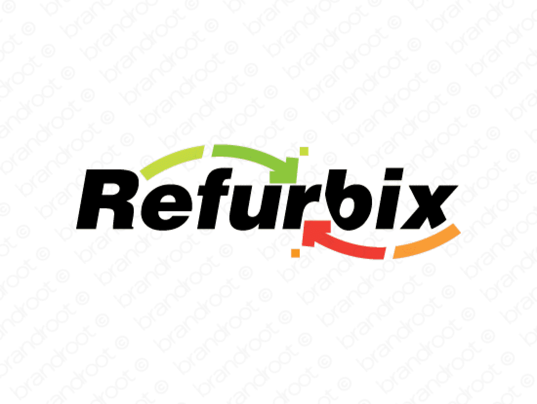 Refurbix logo design included with business name and domain name, Refurbix.com.