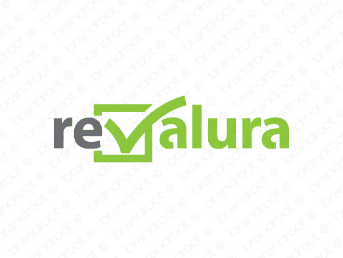Revalura logo design included with business name and domain name, Revalura.com.