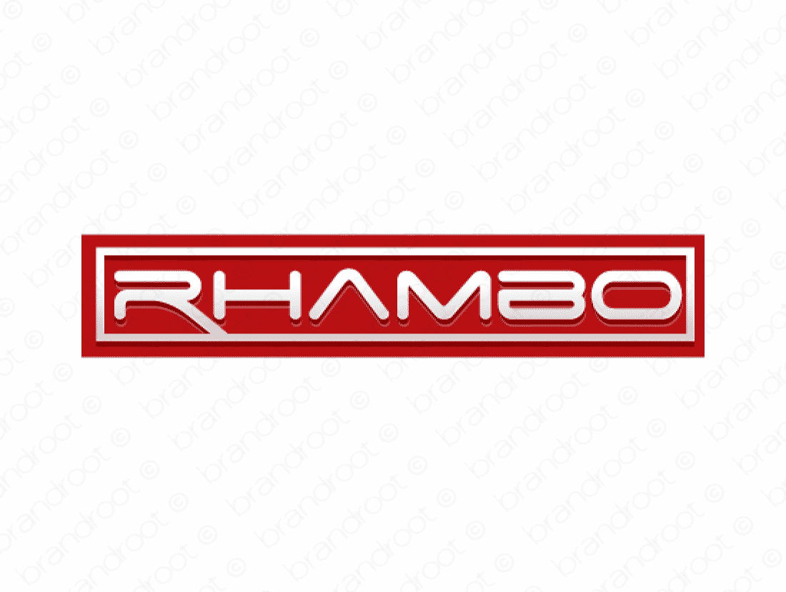 Rhambo logo design included with business name and domain name, Rhambo.com.