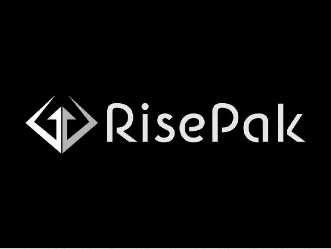 Risepak logo design included with business name and domain name, Risepak.com.