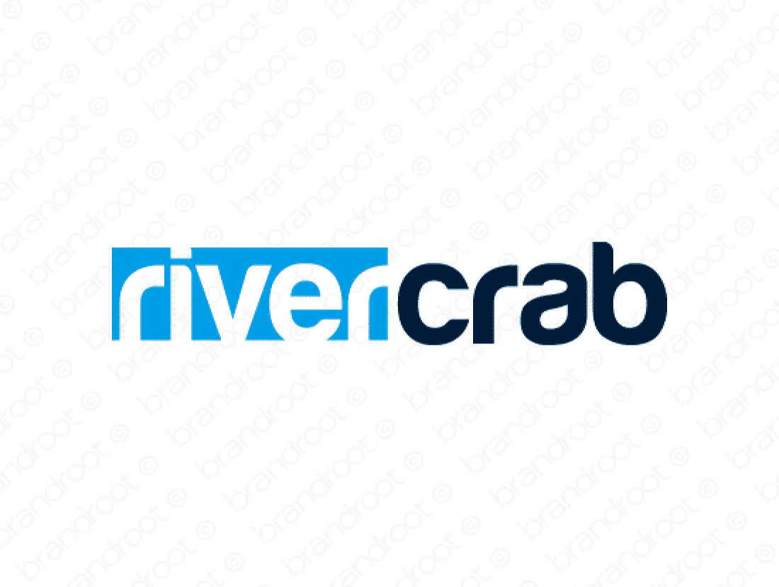 Rivercrab logo design included with business name and domain name, Rivercrab.com.