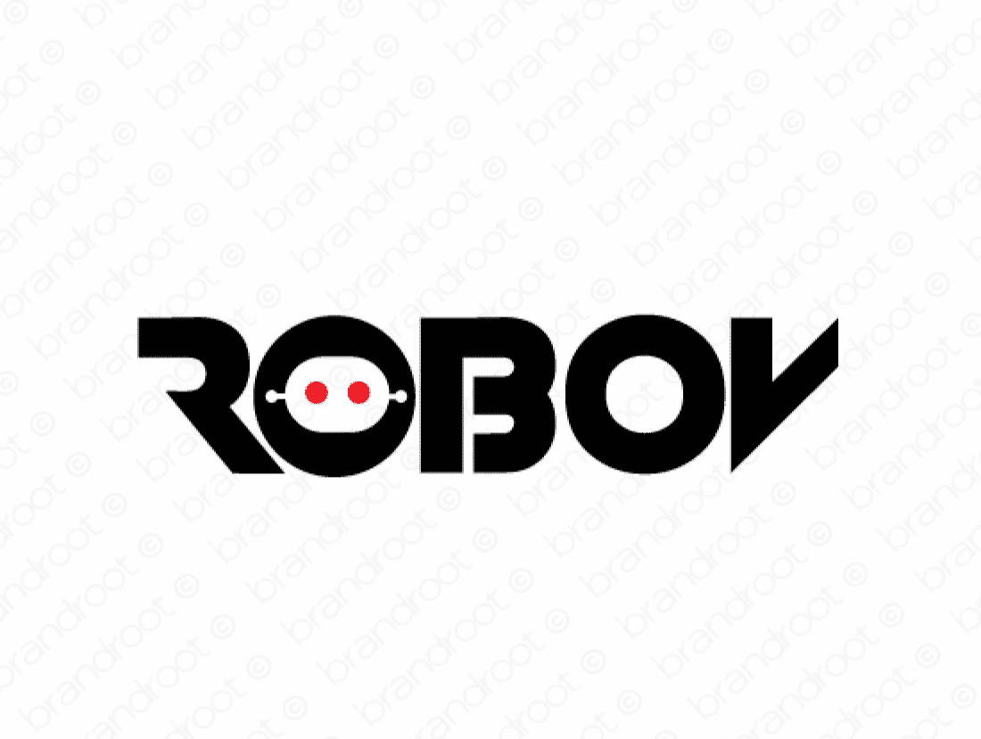 Robov logo design included with business name and domain name, Robov.com.