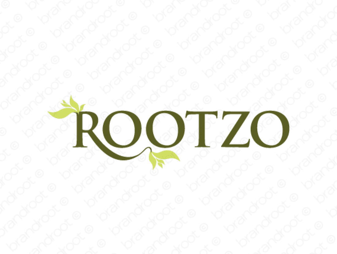 Rootzo logo design included with business name and domain name, Rootzo.com.
